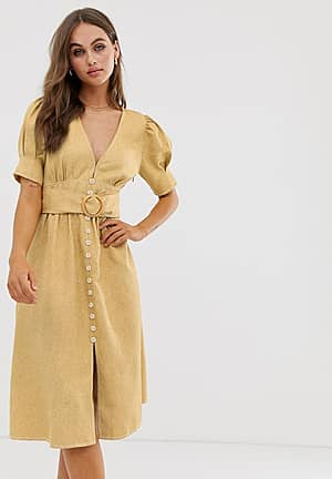 midi dress with puff sleeves and belt