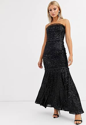 bandeau sequin gown in black
