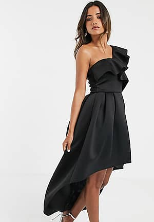 frill one shoulder high low prom maxi dress in black
