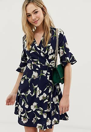 flute sleeve printed wrap dress