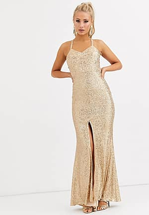 cami strap sequin gown with back detail in gold