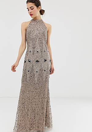 racerneck all over embellished maxi dress