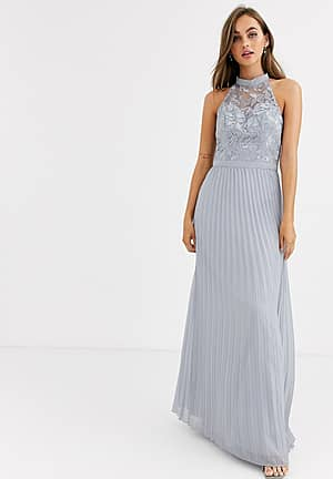 lace detail maxi dress with pleated skirt in grey