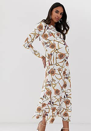 long sleeve ruched midaxi dress in white vintage chain print