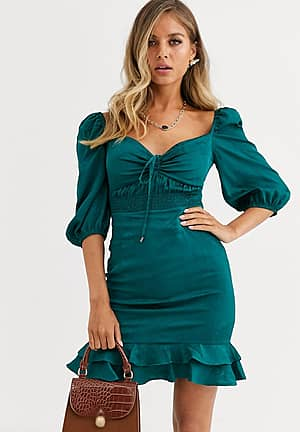 sweetheart neck mini dress with ruffle hem in forest green