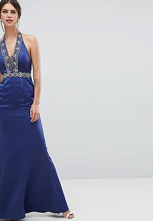 Plunge Maxi Dress With Embellished Detail