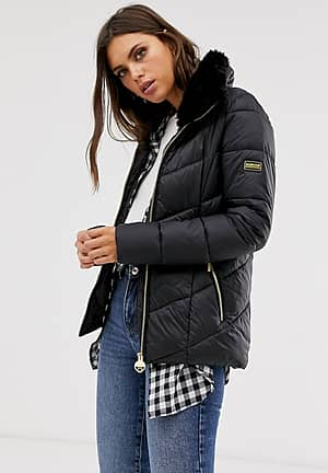 International nurburg chevron quilted jacket with detachable faux fur collar