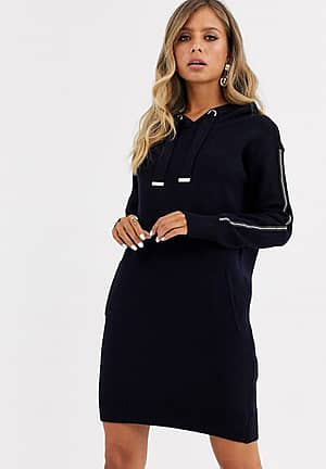hooded knitted jumper dress with stud detail in navy