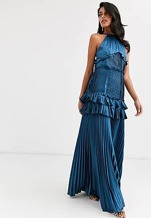 halterneck tiered maxi dress with panel and ruffle detail in midnight navy