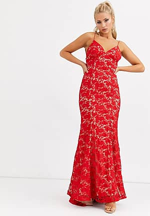 cami strap lace dress with low back in red