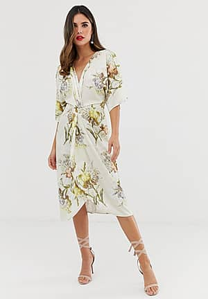 knot front midi dress in summer floral print