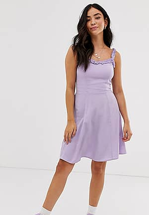 sundress with ruffle edge in lilac