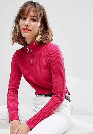 high neck zip up jersey top in Pink