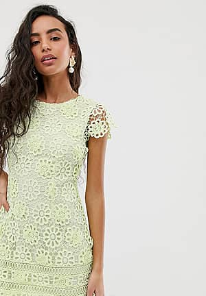 lace dress with cap sleeves in green
