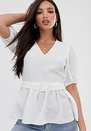 ASOS DESIGN Tall short sleeve v neck tea blouse with buckle detail