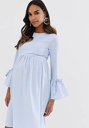 skater dress with fluted sleeve in pale blue