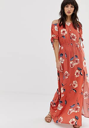 off shoulder maxi dress with tie sleeves in red floral print