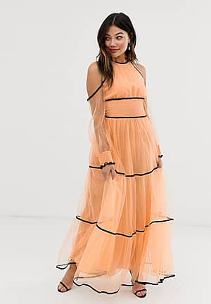 premium off shoulder maxi dress with contrast trim in apricot