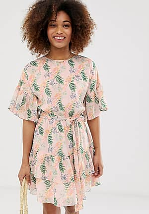 floral mini dress with ruffle sleeves
