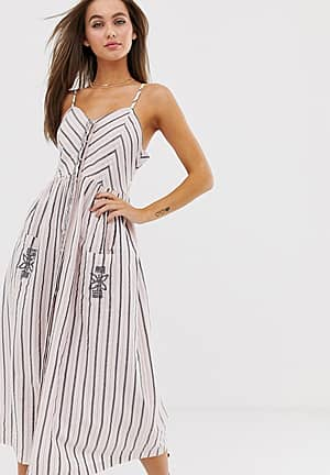 button through midi beach dress