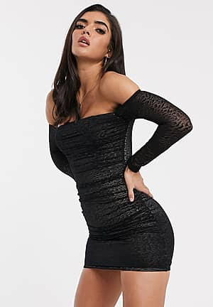 bardot bodycon dress in ruched leopard print mesh