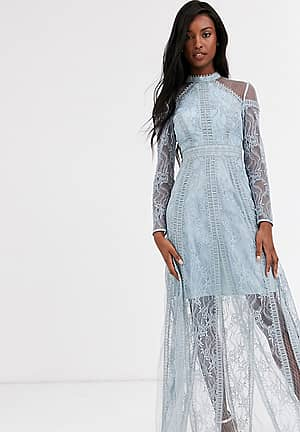 long sleeve contrast lace maxi dress in blue