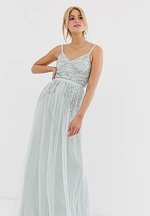 plunge front embellished cami strap maxi dress in ice blue