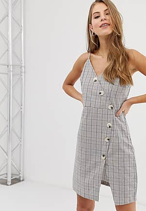 button front cami strap dress in grey check