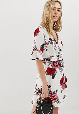 3/4 sleeve floral wrap dress