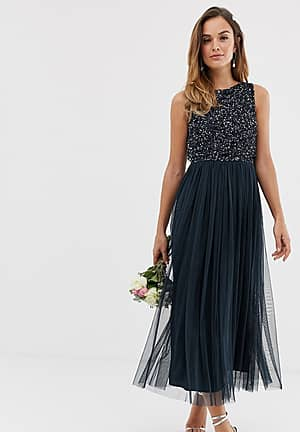 Bridesmaid sleeveless midaxi tulle dress with tonal delicate sequin overlay in navy