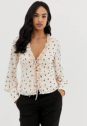tie front blouse in polka