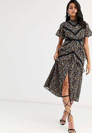 midi dress with lace panels in ditsy floral