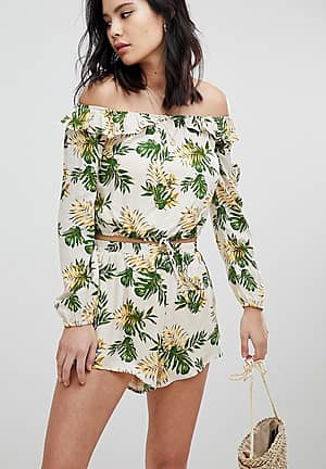 Long Sleeve Crop Top With Off Shoulder Ruffle Co-Ord