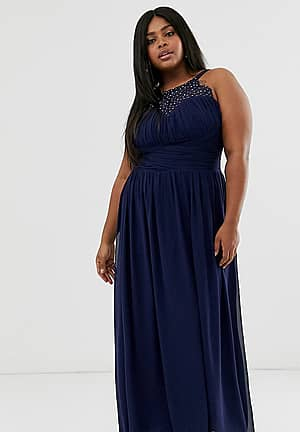embellished top maxi dress in navy