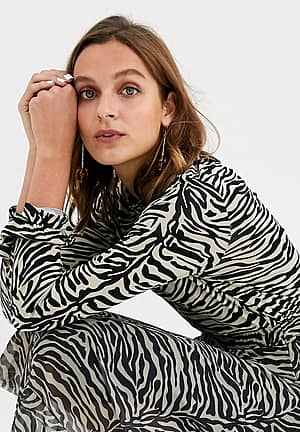 zebra print high neck top