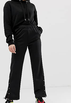 wide leg track pant with concealed popper detail
