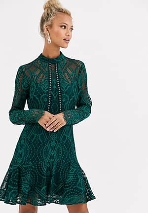 high neck lace mini dress in teal