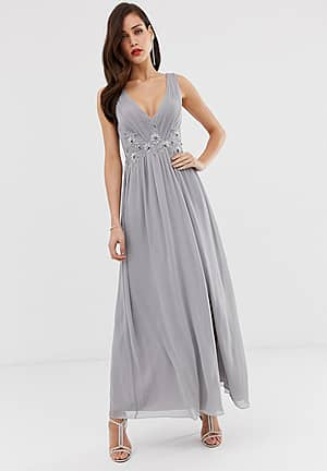 tulle maxi dress with side split and lace detail