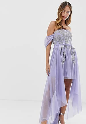 off shoulder mini embellished prom dress with train detail in lilac