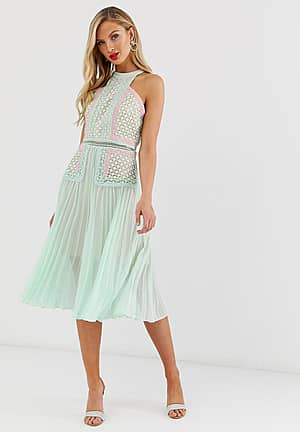 premium halter neck midi dress with contrast lacel panels and pleated skirt in tonal mint
