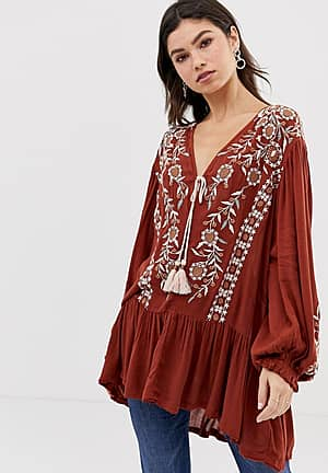 Wild Dreams embroidered tunic top