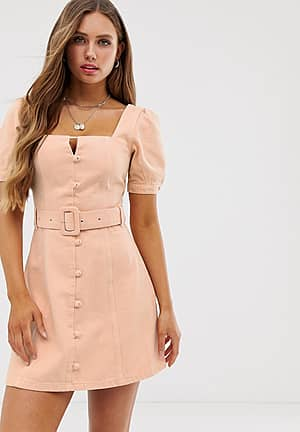 denim puff sleeve mini dress with belt and buttons in peach