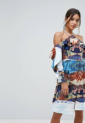 Cold Shoulder Printed Midi Dress With Thigh Split