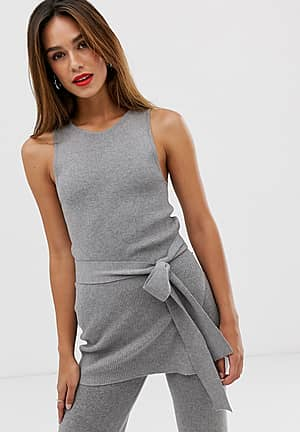 ribbed tunic co ord in grey