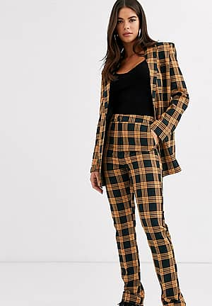 Tall check peg trouser with print