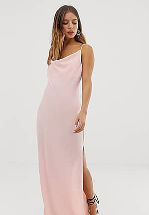 maxi dress with cowl neck in pink