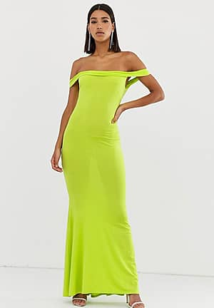 Club L bardot fishtail maxi dress