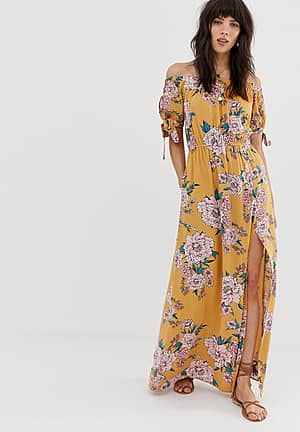 off shoulder maxi dress with tie sleeves in yellow floral print