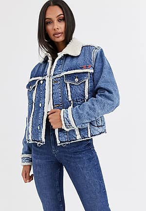 teddy lined denim jacket with badge detail