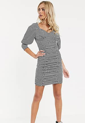 ruched front mini bodycon dress with puff sleeves in stripe